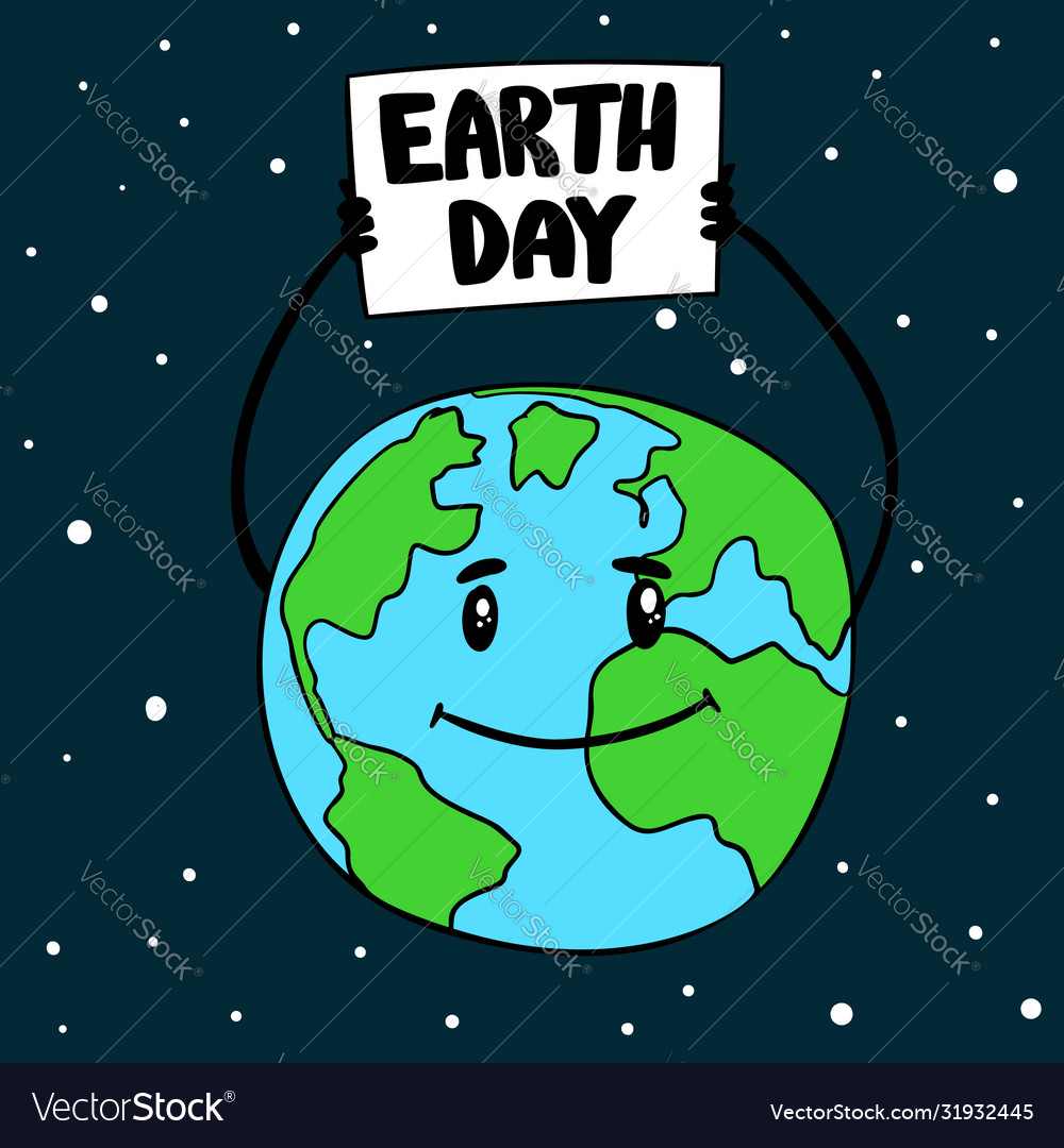 Earth day globe with poster design element
