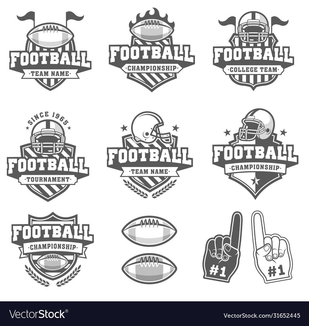 Greyscale Football Logo Collection Royalty Free Vector Image