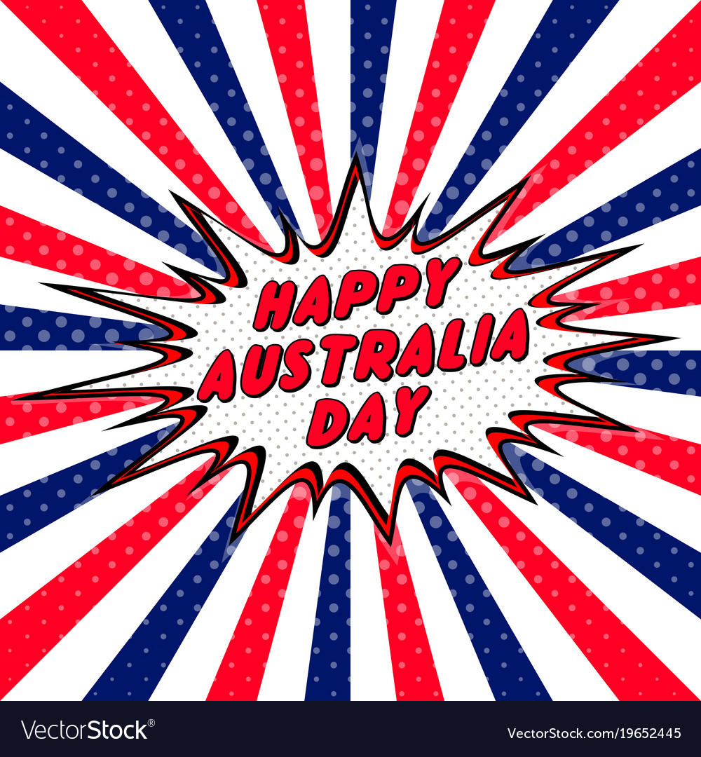 Happy australia day pop art comic speech bubble