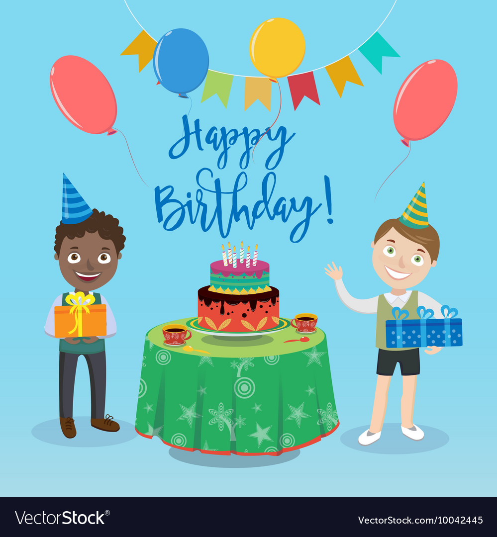 Happy Birthday Greeting Card With Cake Royalty Free Vector