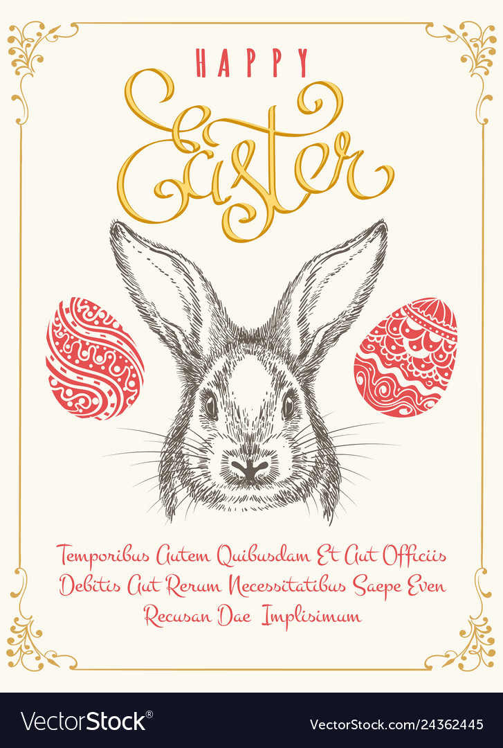 Happy easters vintage poster template