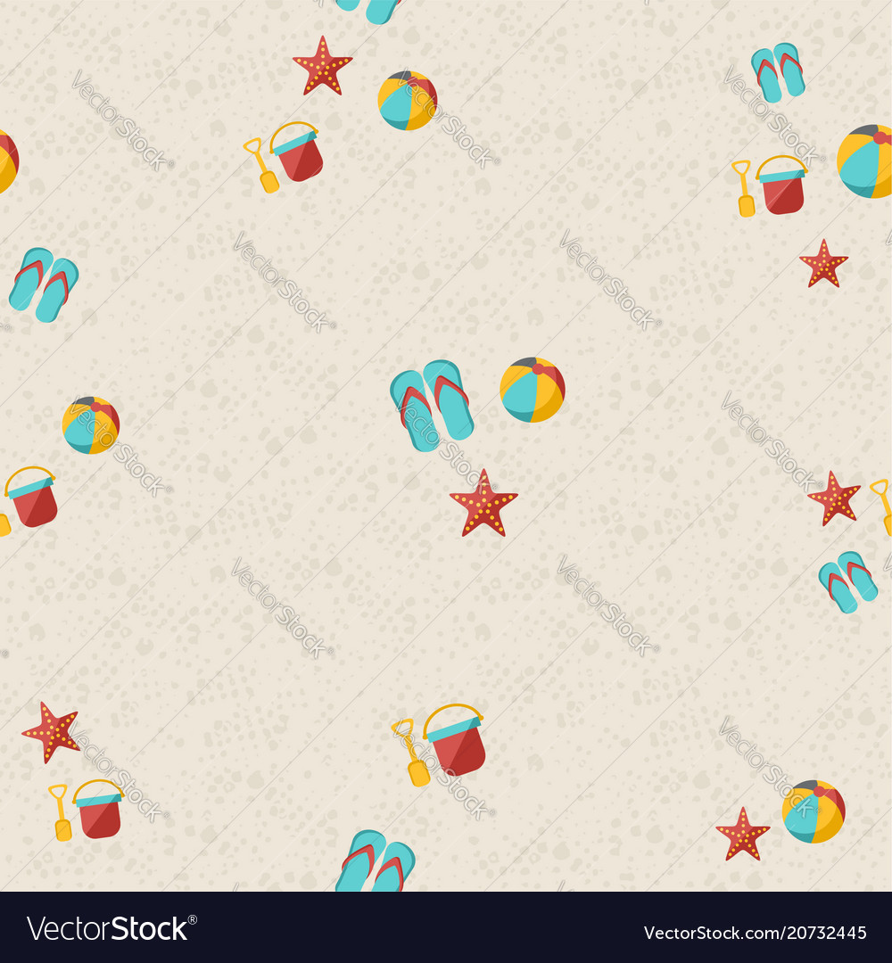 Happy summer beach pattern with toys and starfish