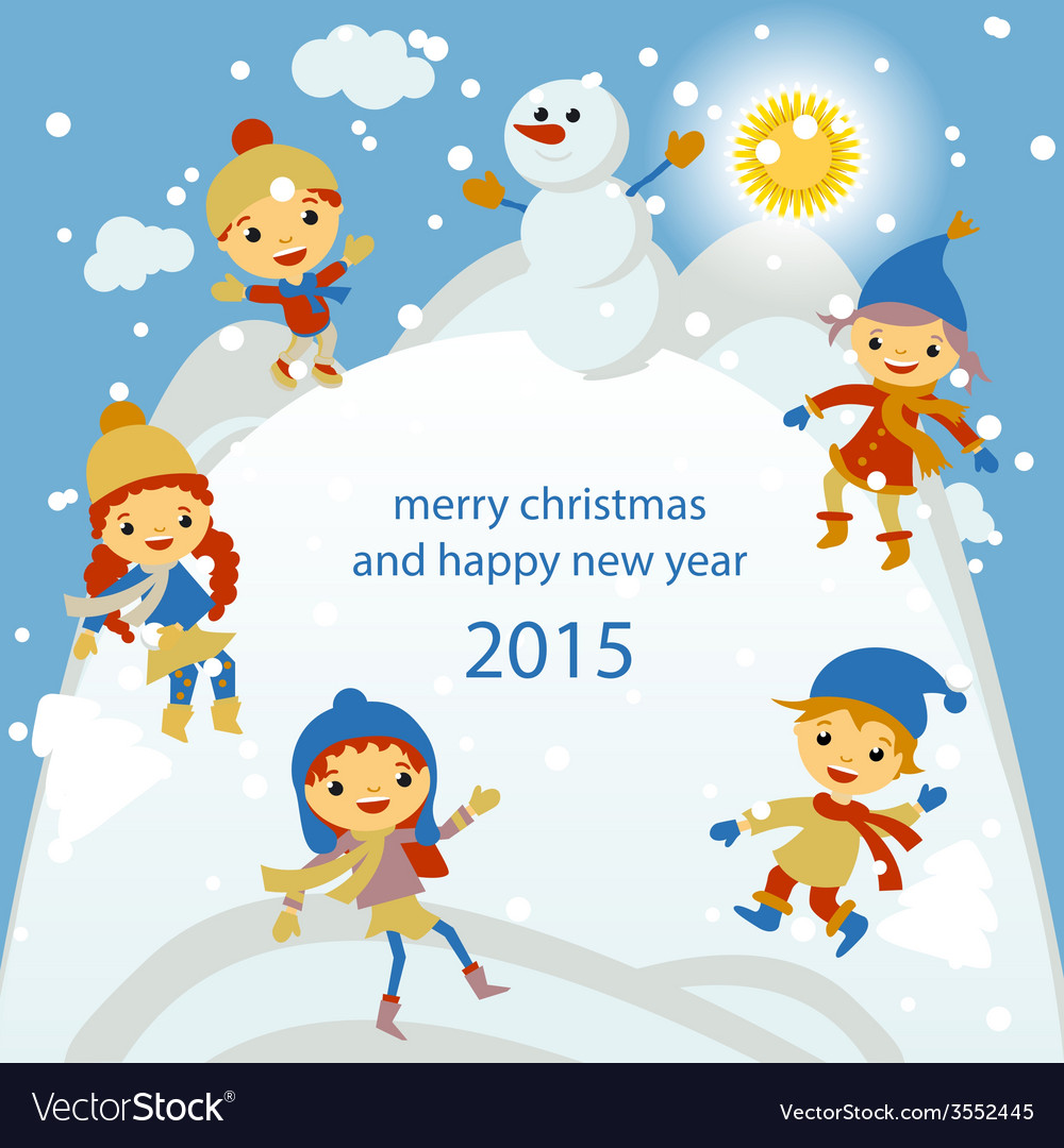 merry christmas greeting card with winter vector image - Merry Christmas Cards Images