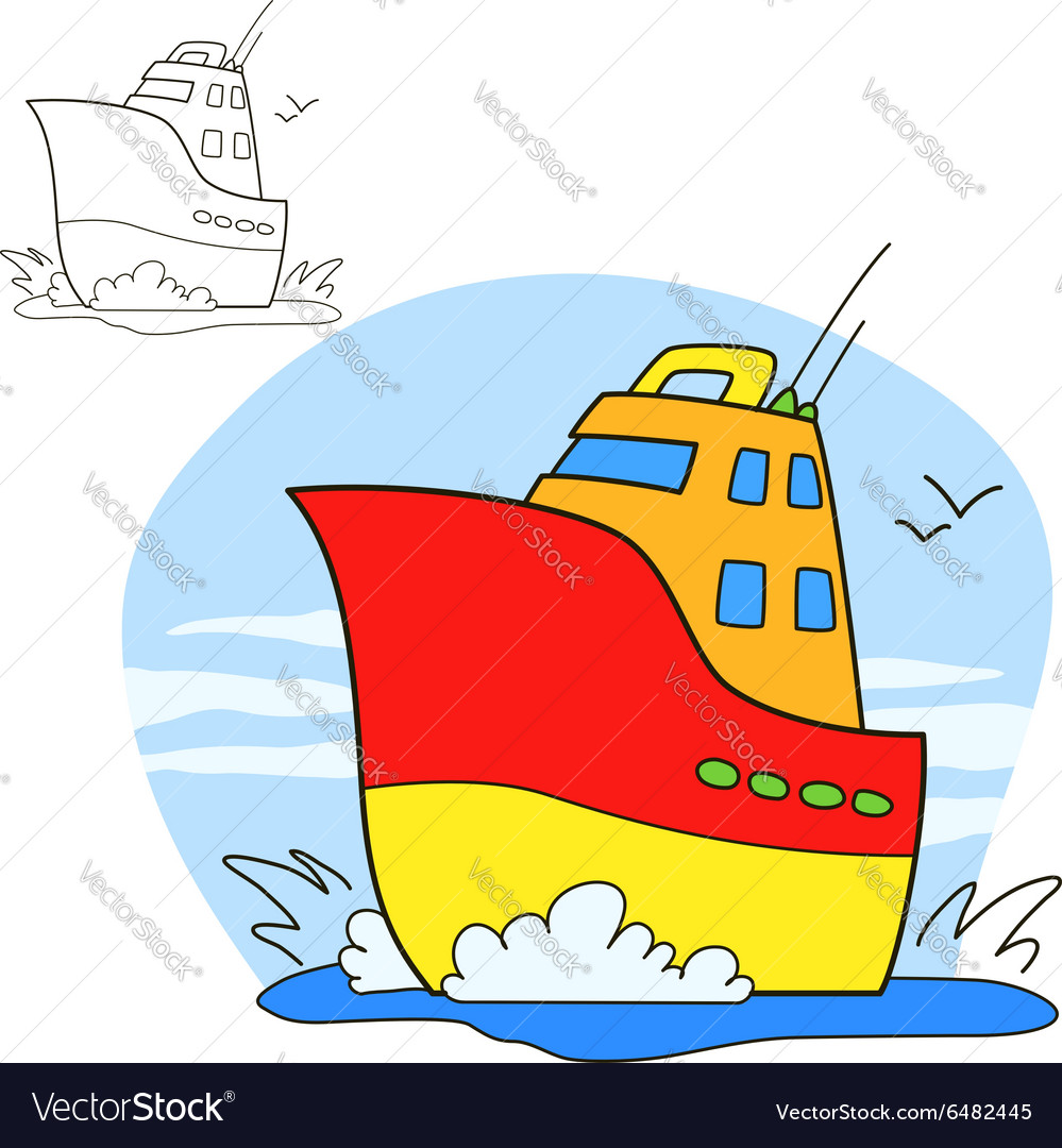 Motor ship Coloring book page Royalty Free Vector Image