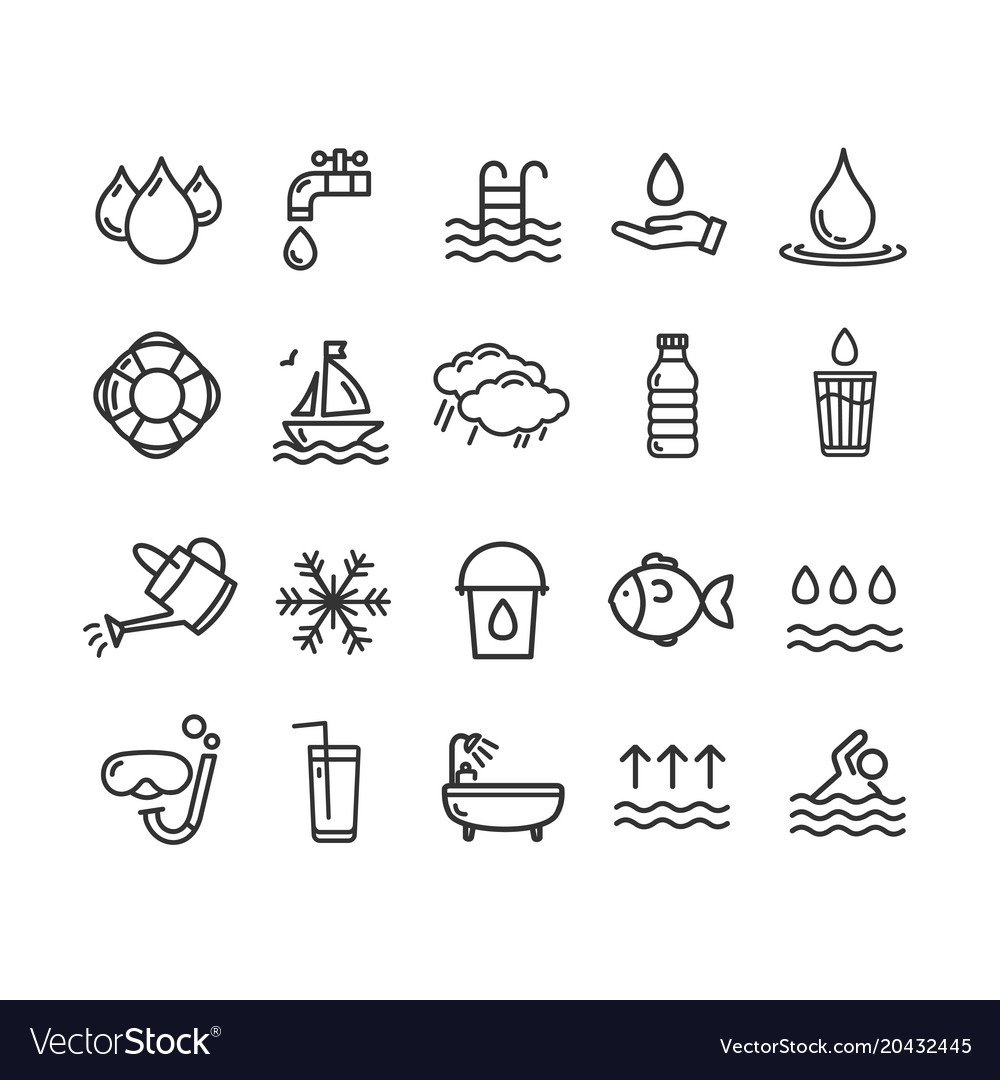 Pool and water signs black thin line icon set