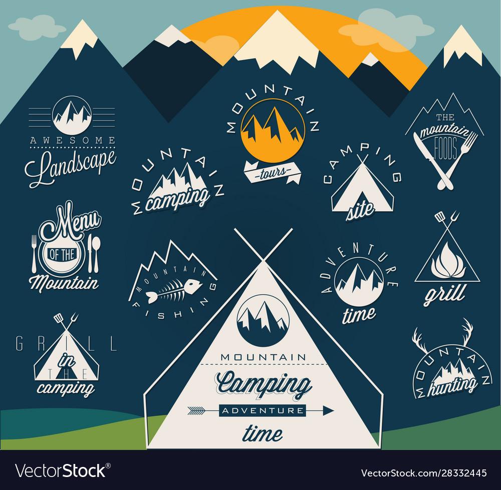 Retro vintage style symbols for mountain expeditio