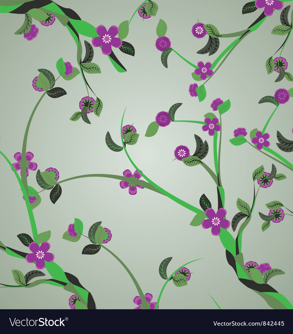 Violet flowers branches vector image