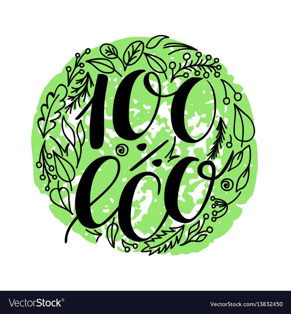 100 percent eco food menu icons hand written