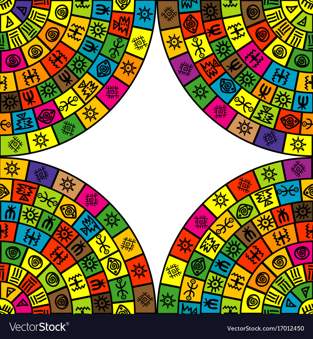 Abstract frame with round shapes and ethnic vector image