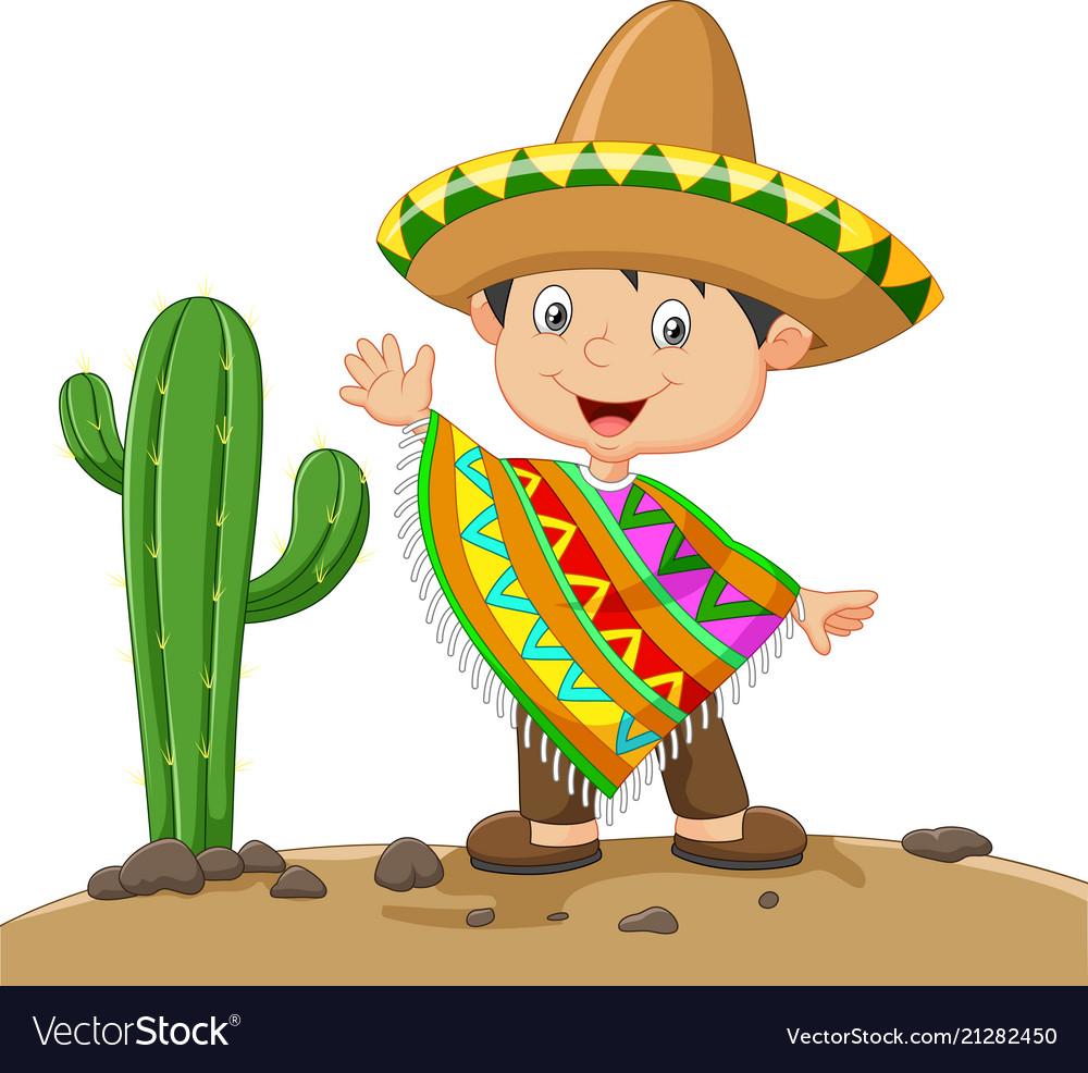Cartoon boy wearing mexican dress