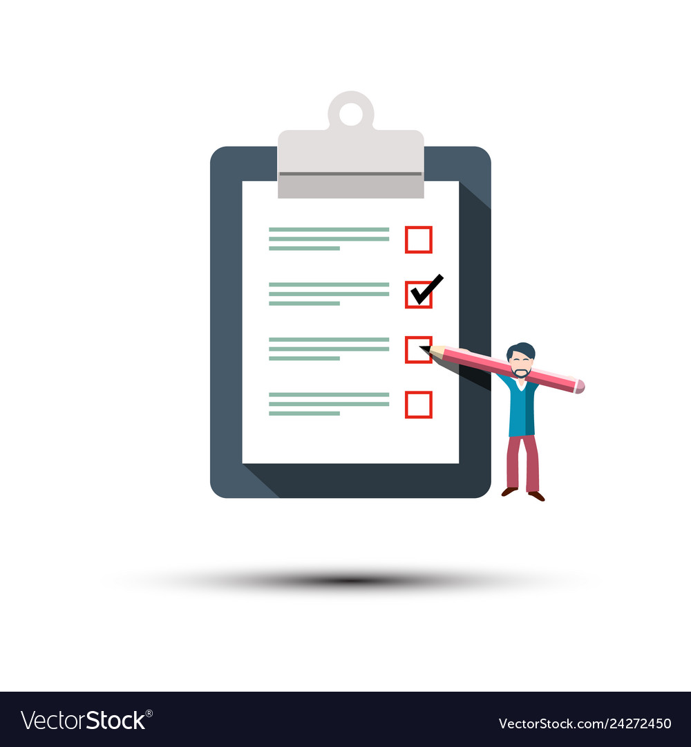 Checklist icon man with pancel and paper notebook