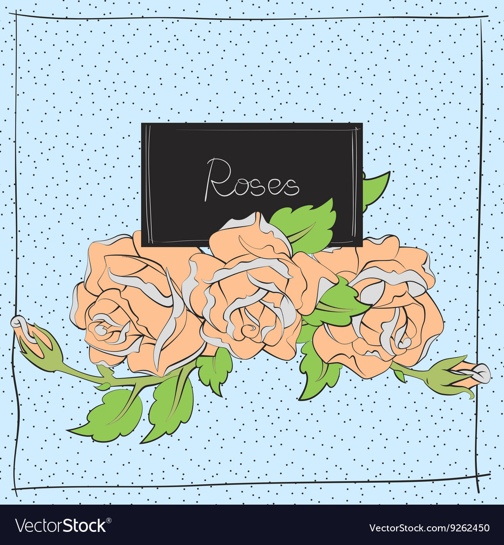 Cute roses on light blue