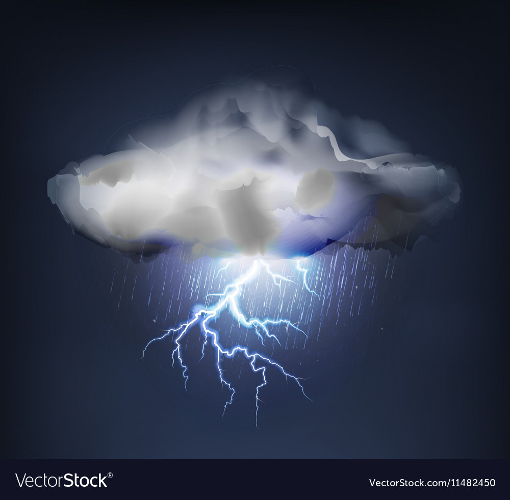 Dark Cloud with Rain and Lightning Royalty Free Vector Image