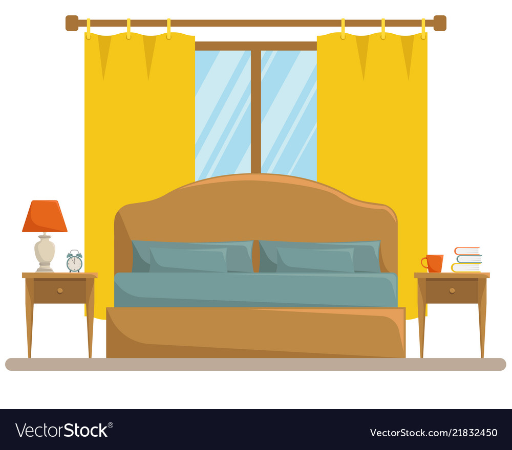 Isolated Classic Bedroom Interior Royalty Free Vector Image