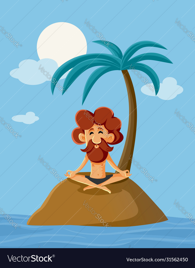 Lonely Man On A Deserted Island Cartoon Royalty Free Vector