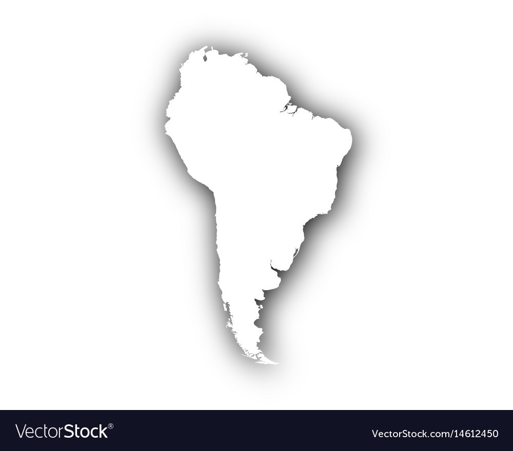 Map of south america with shadow
