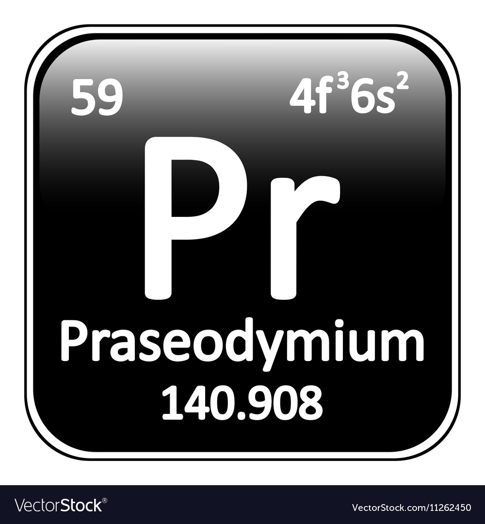 Periodic table element praseodymium icon