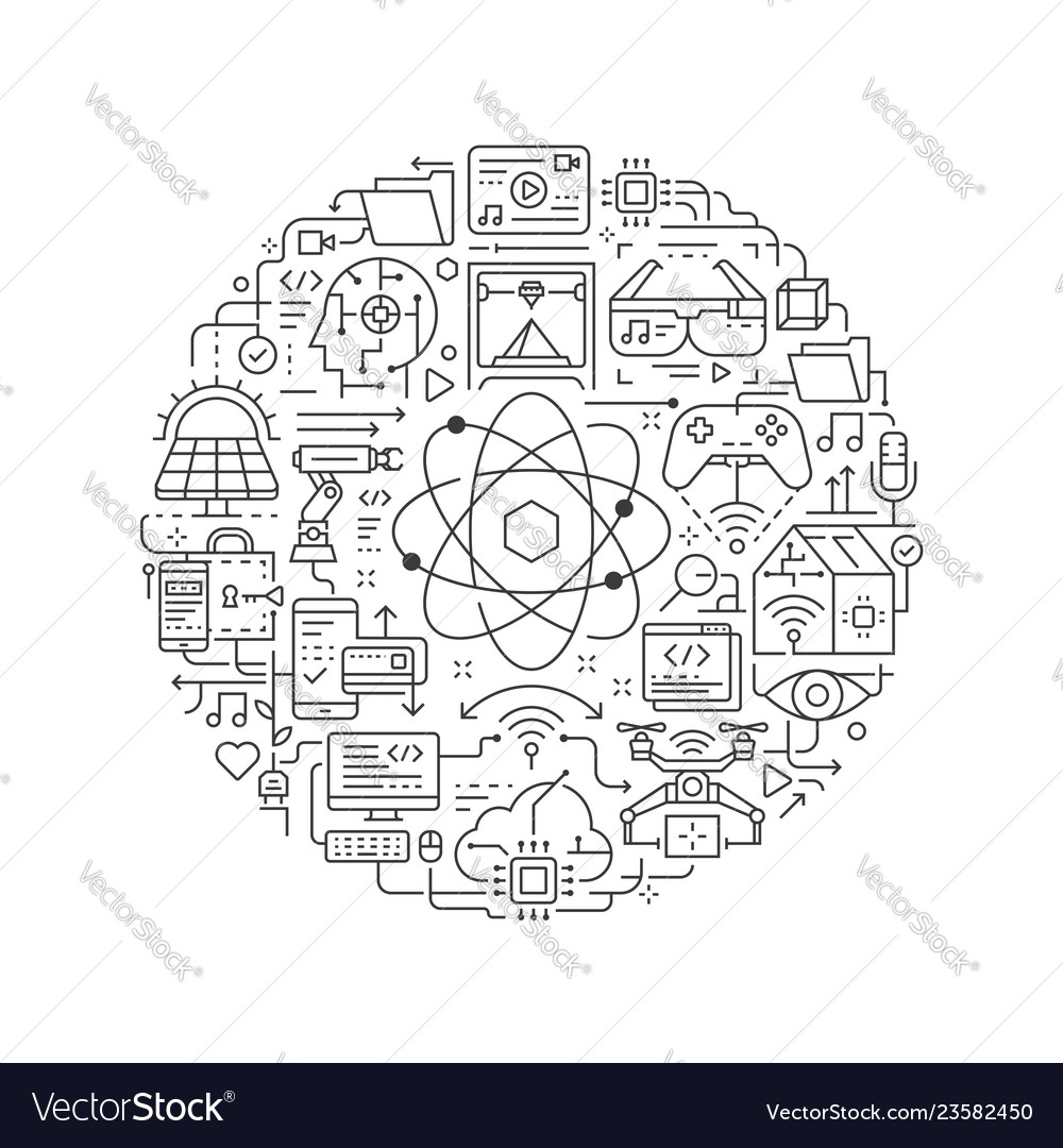 Round design element with technology icon
