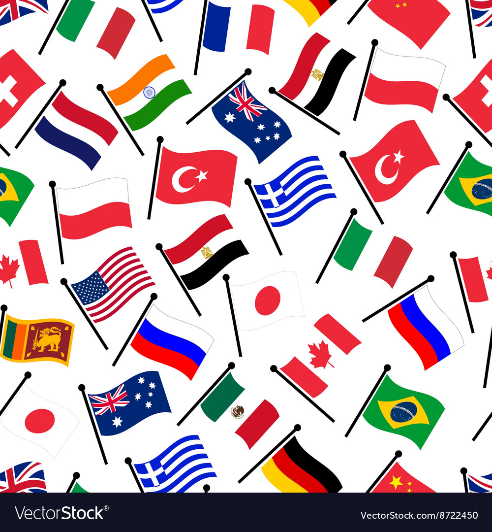 Simple color curved flags of different country vector image