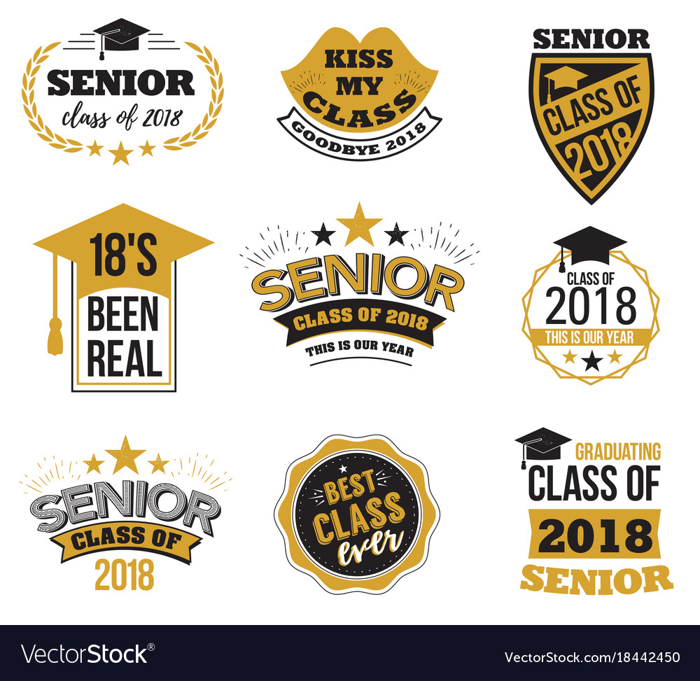 The set of black and gold colored senior text
