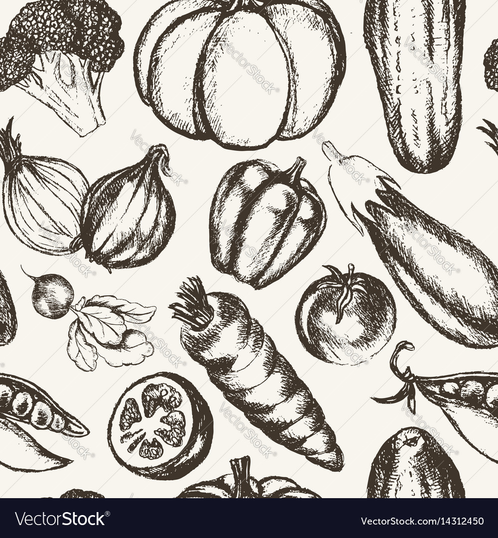 Vegetables - black and white hand drawn seamless