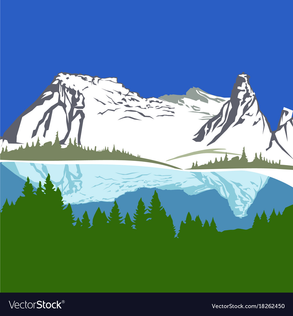 View with mountains and forest vector image