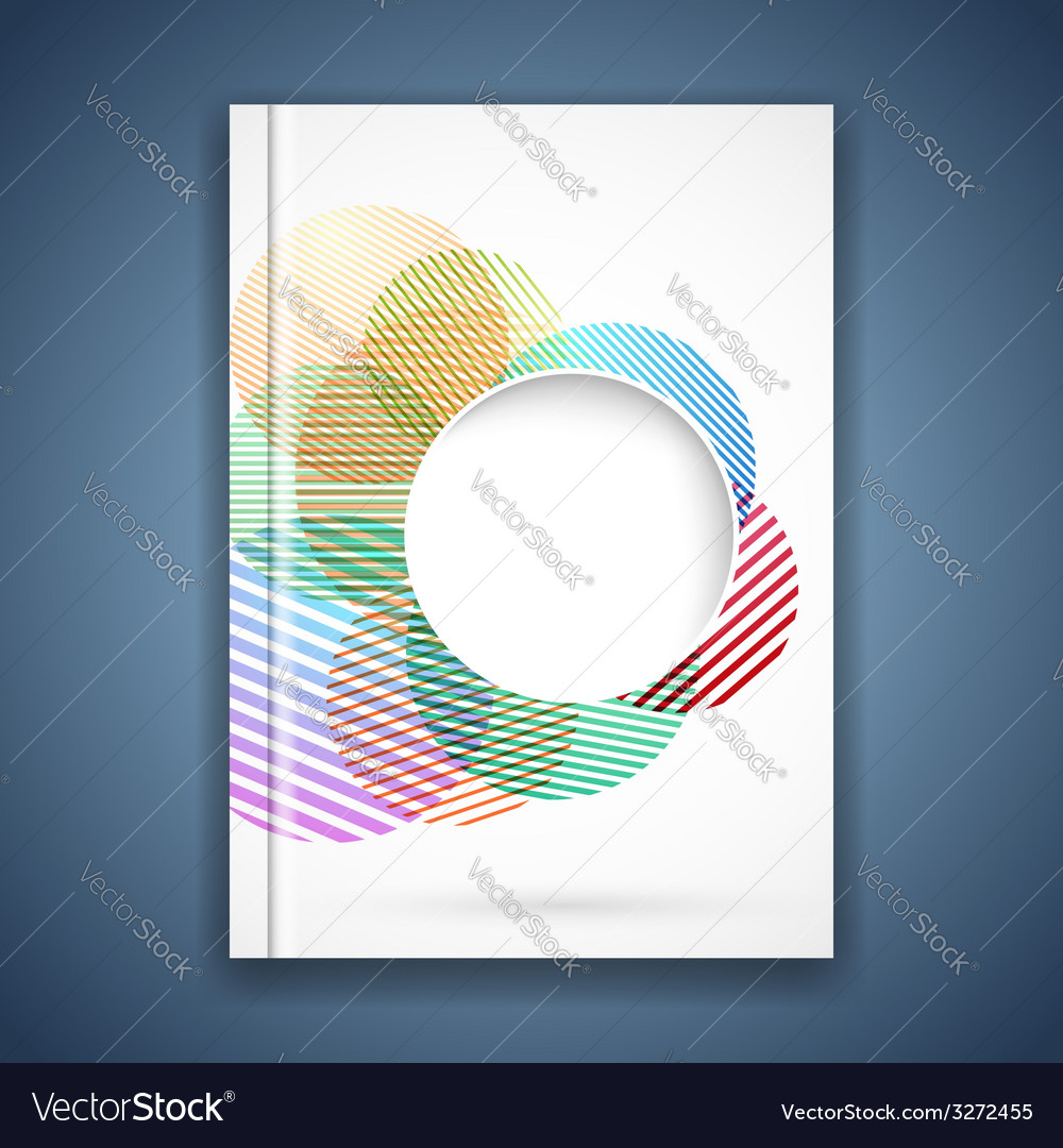 Bright Colorful Circle Notebook Cover Template Vector Image