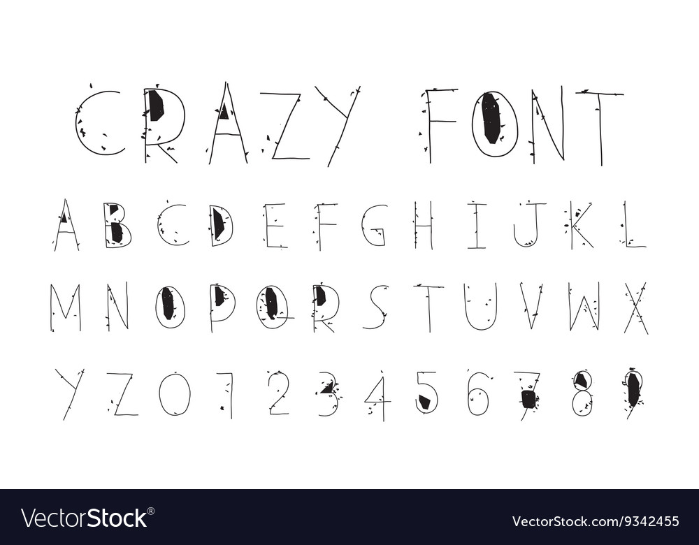 Careless funny letters crazy font Royalty Free Vector Image