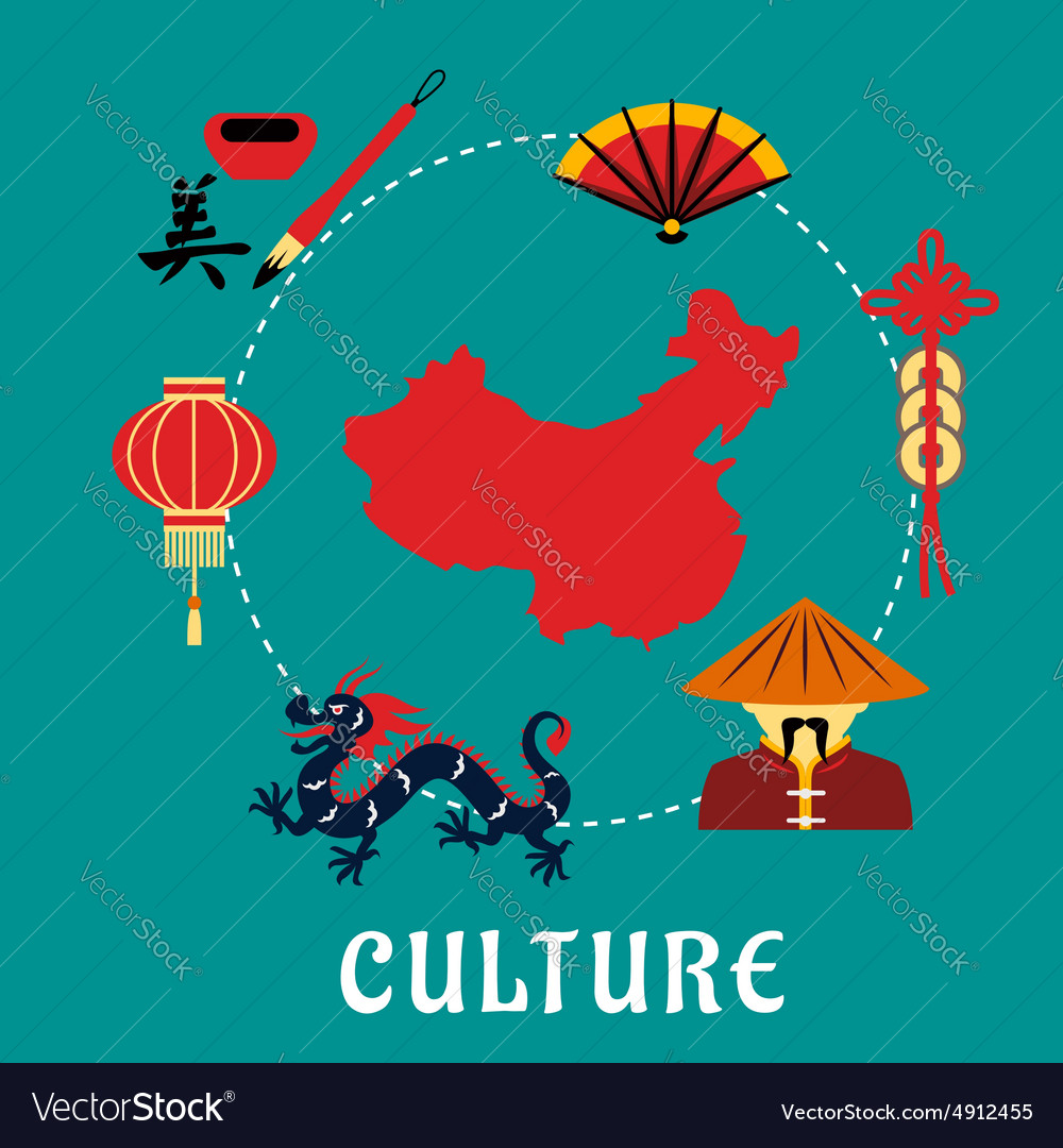 Chinese culture icons around a map vector image