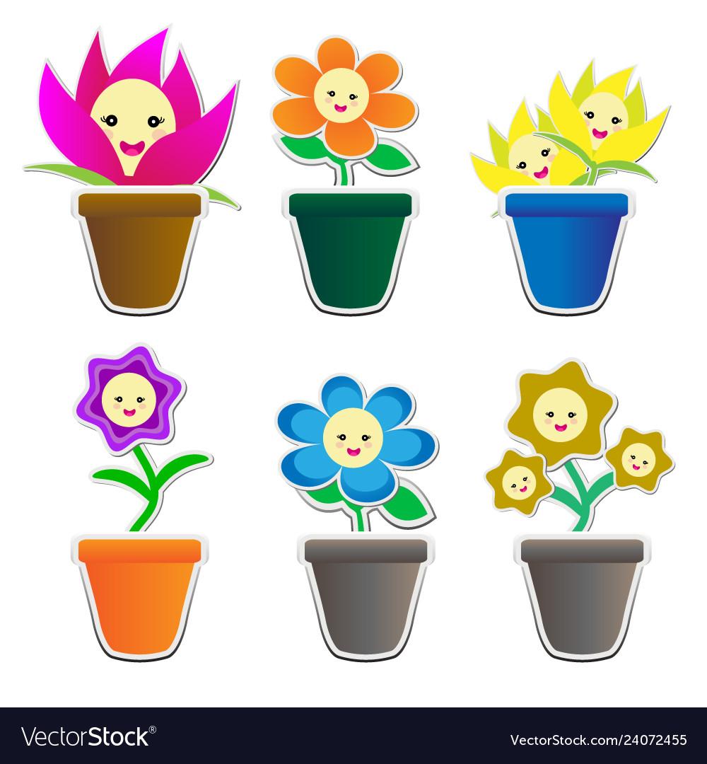 Cute flowers sticker in pot