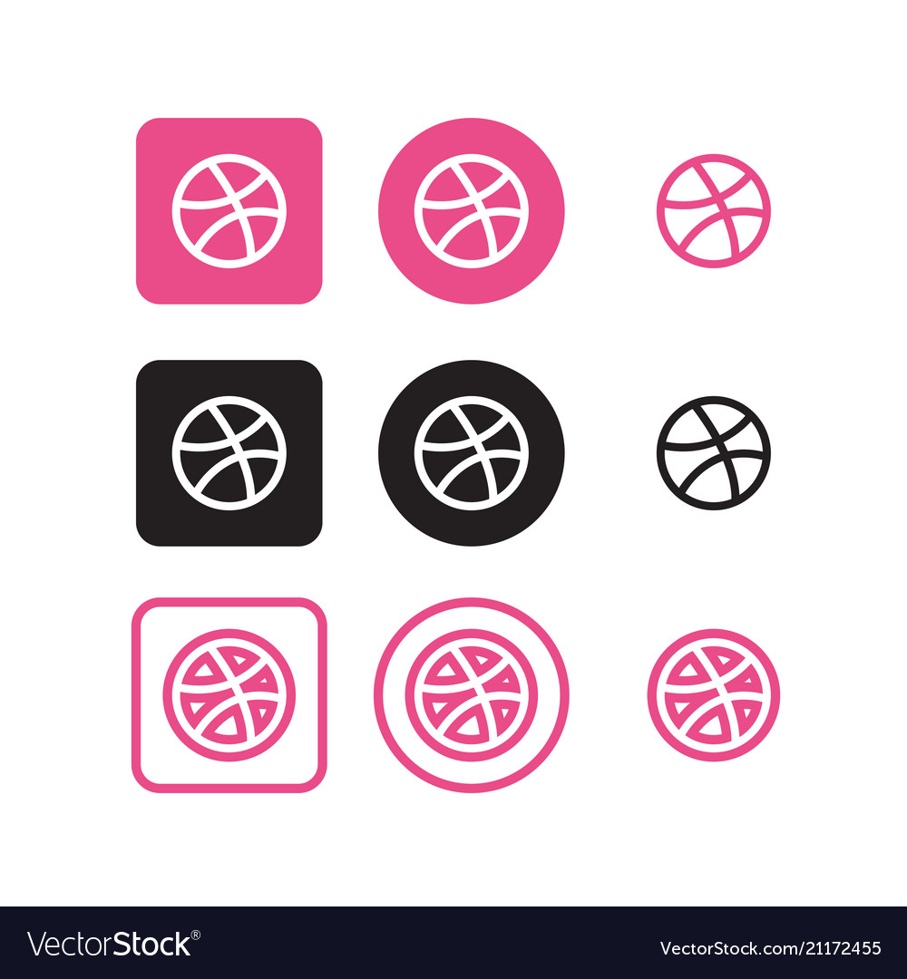 Dribble social media icons vector image