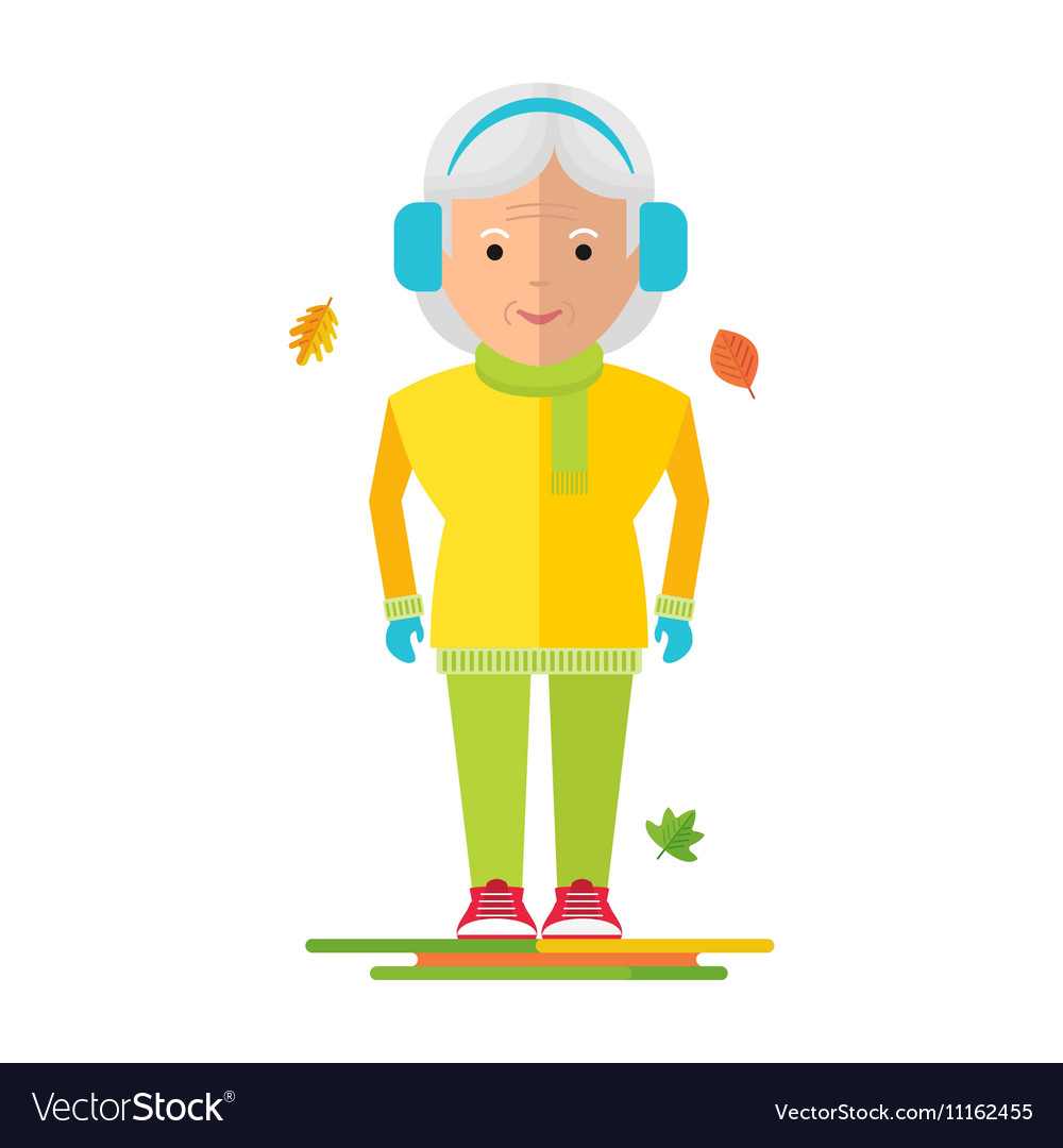 elderly woman on autumn walk royalty free vector image elderly woman on autumn walk royalty free vector image
