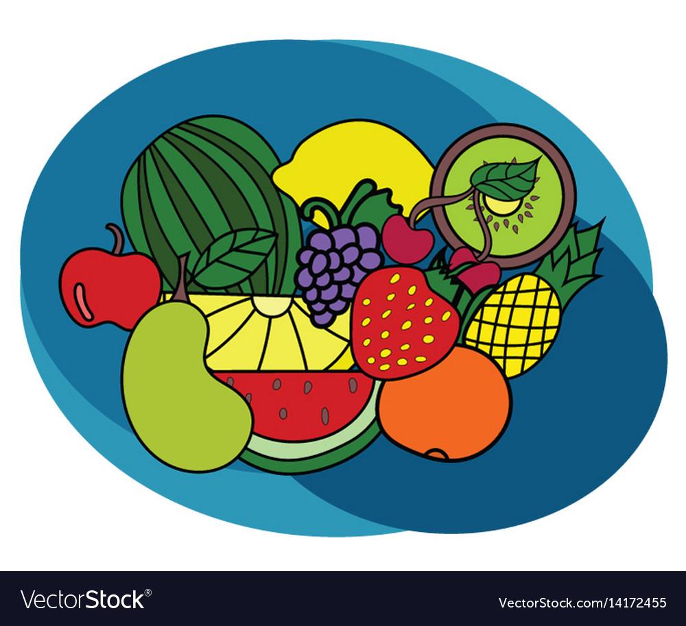Fruits design set cartoon free hand draw doodle