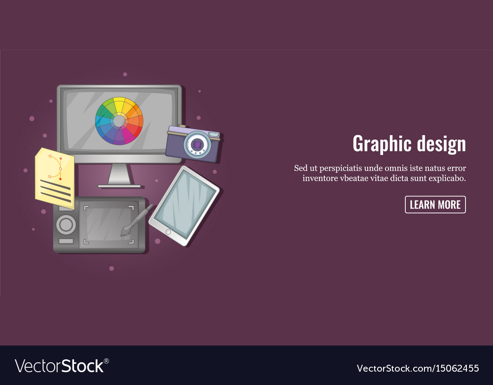 Graphic tools banner horizontal man cartoon style vector image