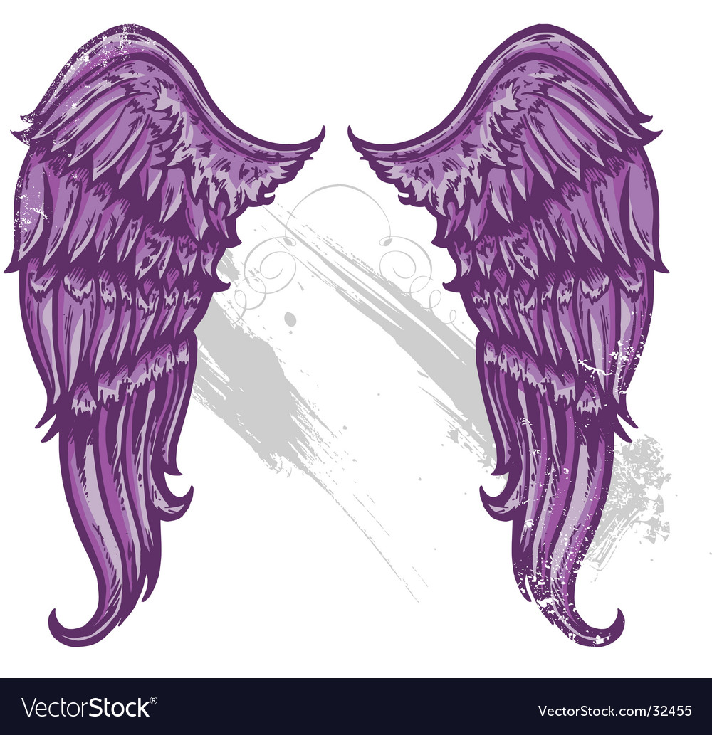 Hand drawn tattoo style wings