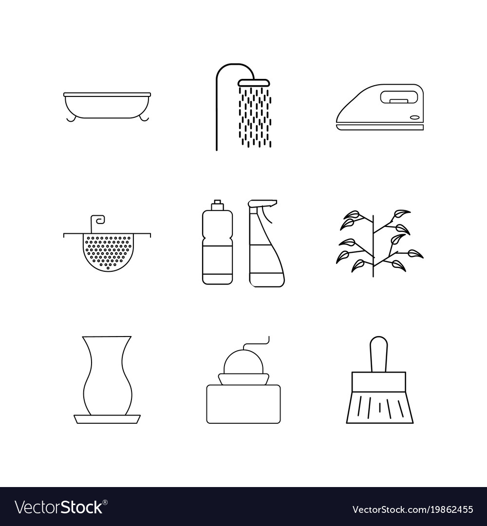 Home appliances linear icon set simple outline