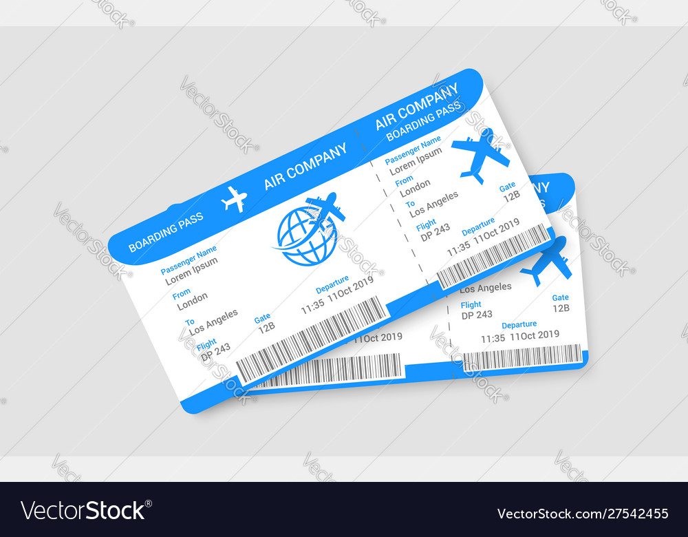 Pair realistic airline tickets concept
