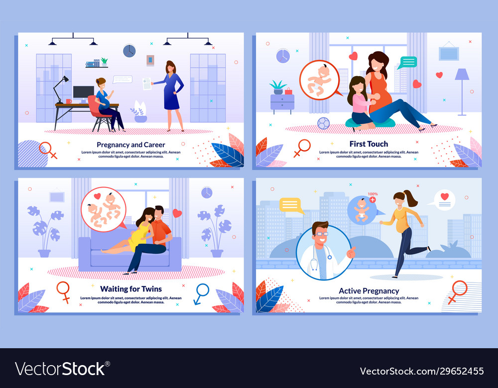 Pregnant woman daily life flat posters set