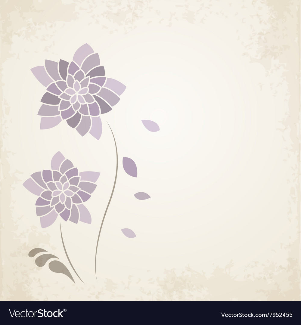 Purple Flower On Old Paper Background Royalty Free Vector