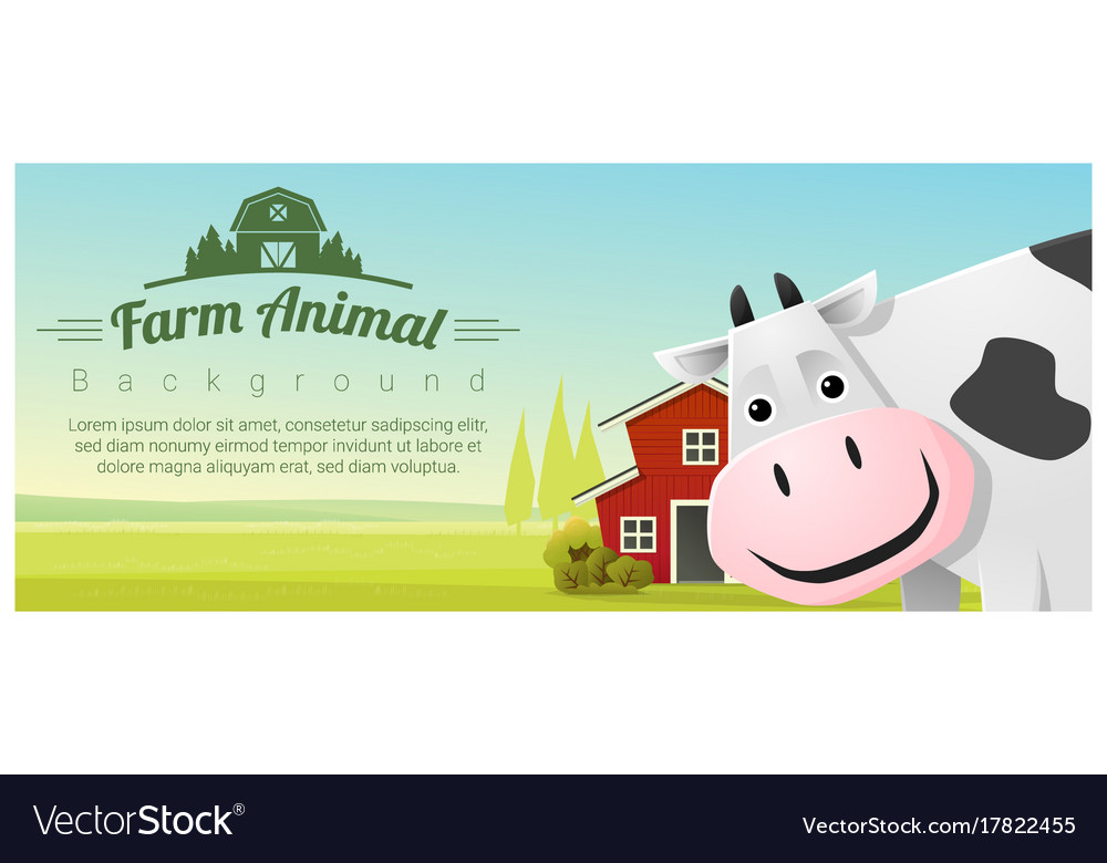Rural landscape background with cow