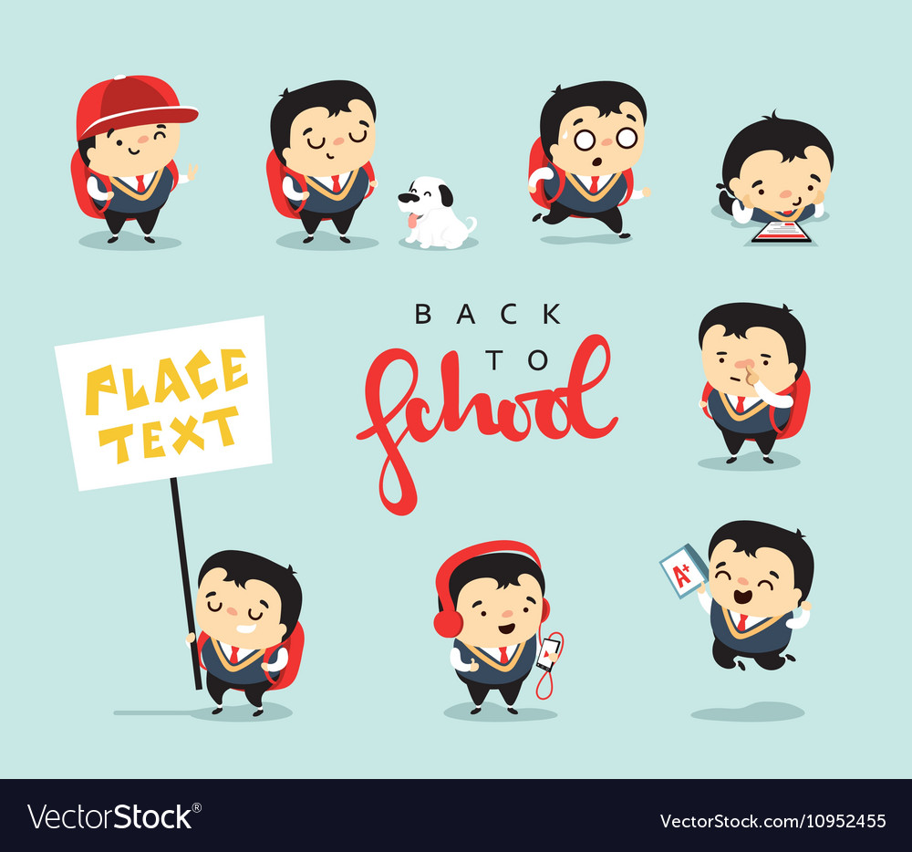 School isolated characters Student with different vector image