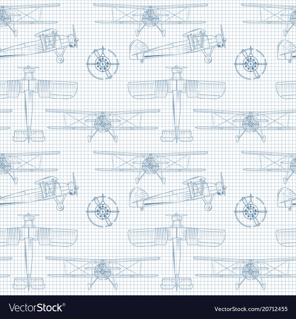 Seamless background with vintage airplane in