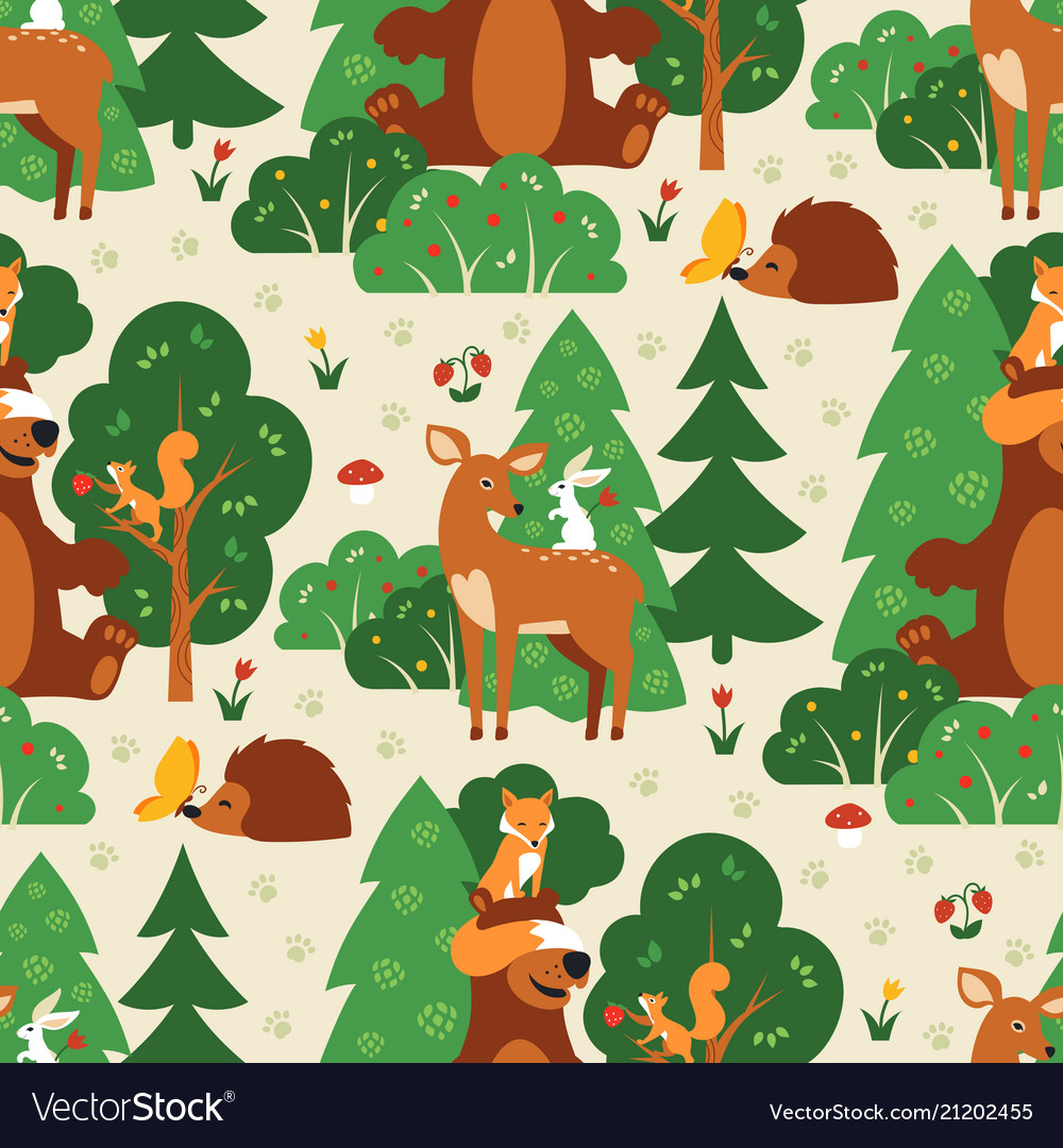 Seamless pattern with cute wild animals in green