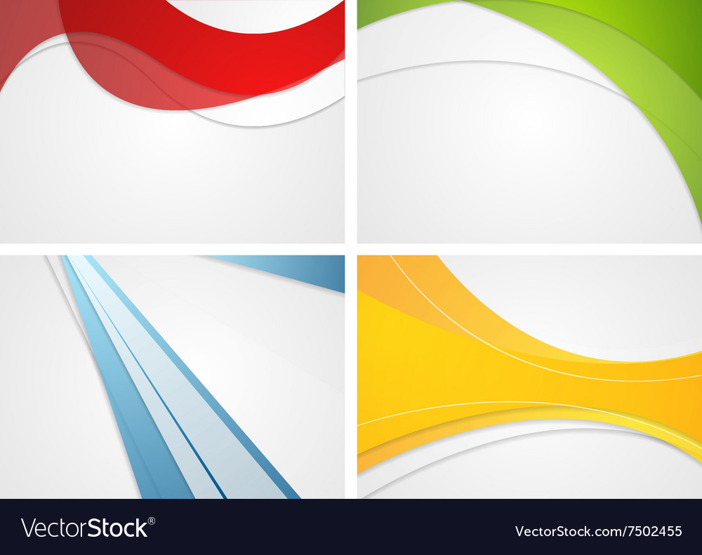 Set of abstract wavy and striped bright