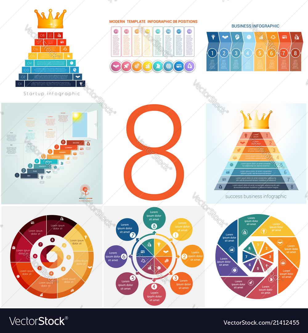 Set universal templates elements infographics