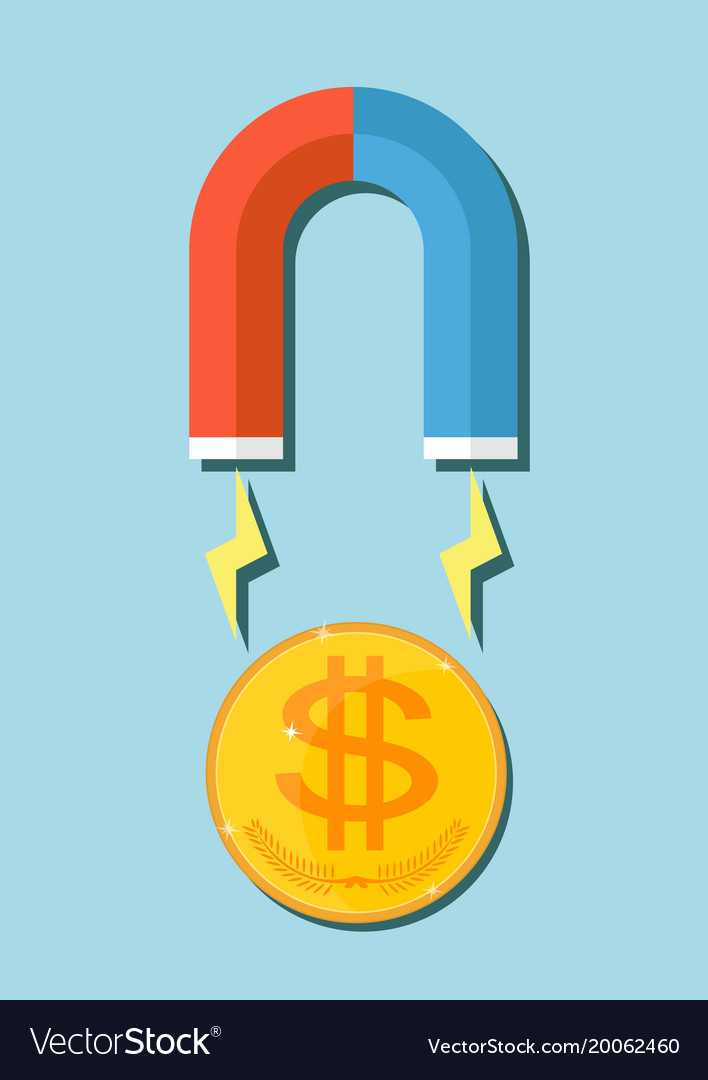 A Huge Magnet Attracting Money Royalty Free Vector Image
