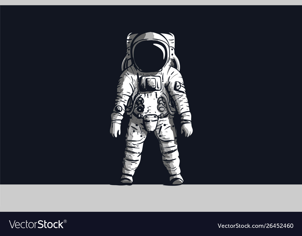 Astronaut on isolated black background in black