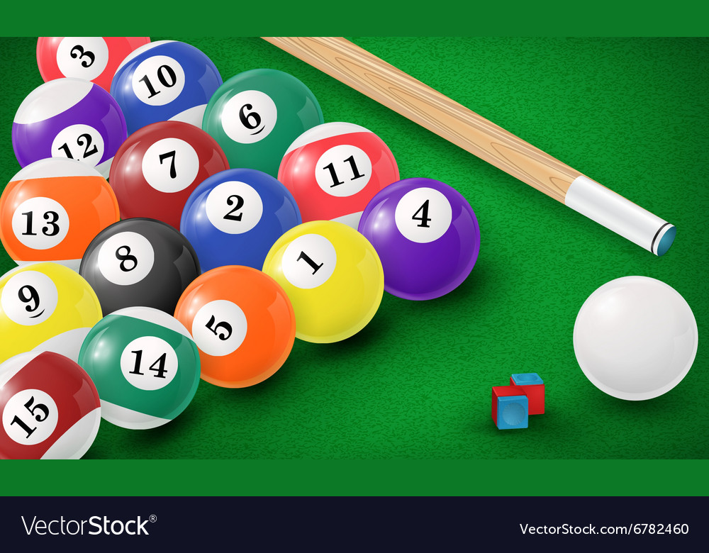 Billiard Balls In A Pool Table Vector Image
