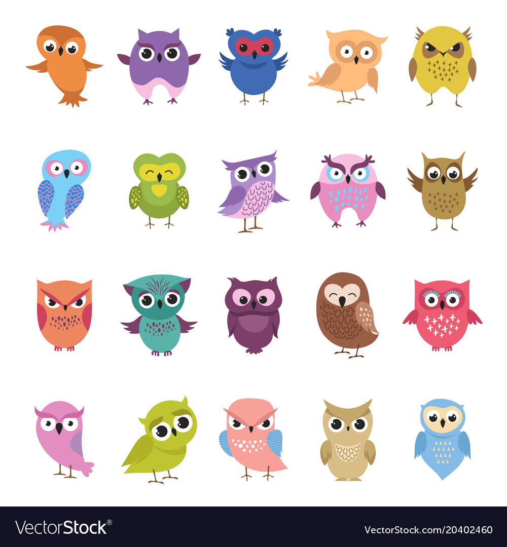 Cartoon cute owls set funny and angry birds
