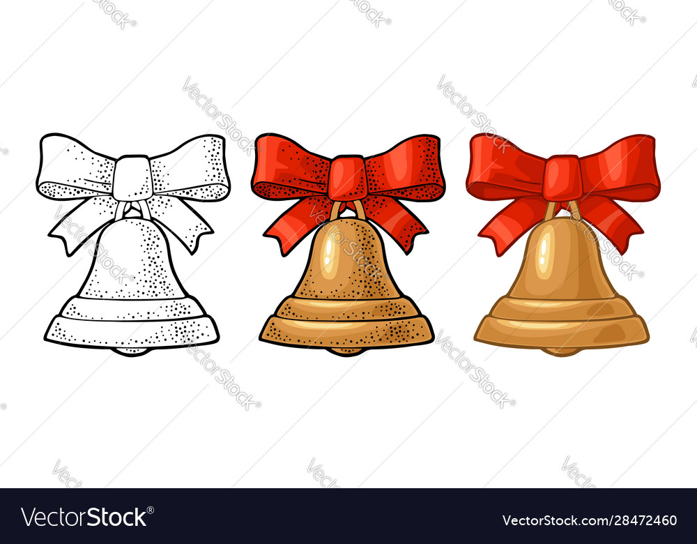 Christmas gold bell with red bow vintage